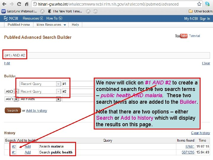 We now will click on #1 AND #2 to create a combined search for