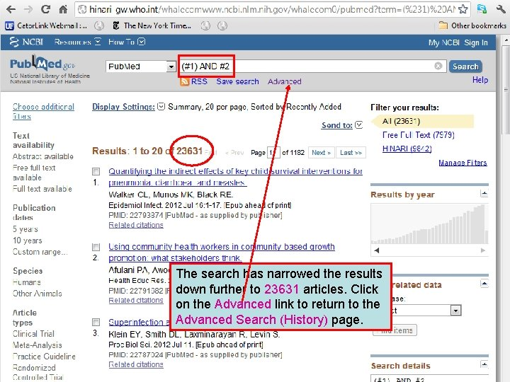 The search has narrowed the results down further to 23631 articles. Click on the