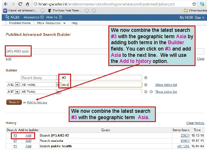 We now combine the latest search #3 with the geographic term Asia by adding