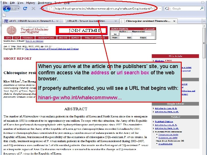 Linking to full text 5 When you arrive at the article on the publishers'