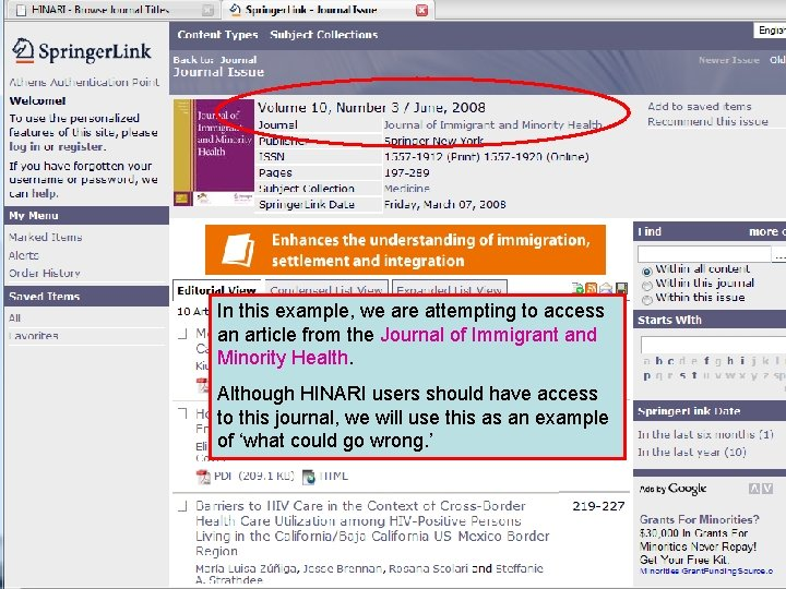 In this example, we are attempting to access an article from the Journal of