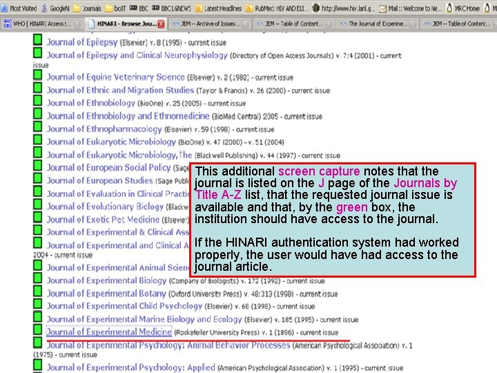 This additional screen capture notes that the journal is listed on the J page