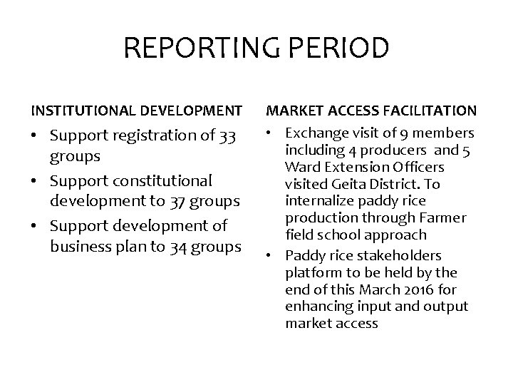REPORTING PERIOD INSTITUTIONAL DEVELOPMENT • Support registration of 33 groups • Support constitutional development
