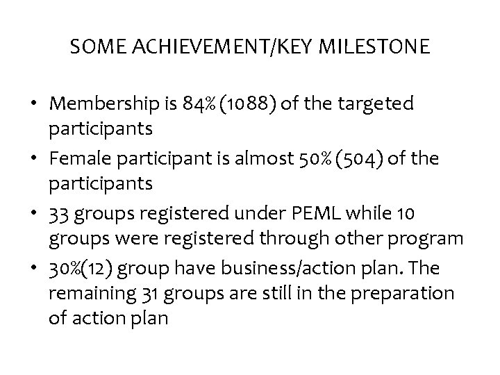 SOME ACHIEVEMENT/KEY MILESTONE • Membership is 84% (1088) of the targeted participants • Female