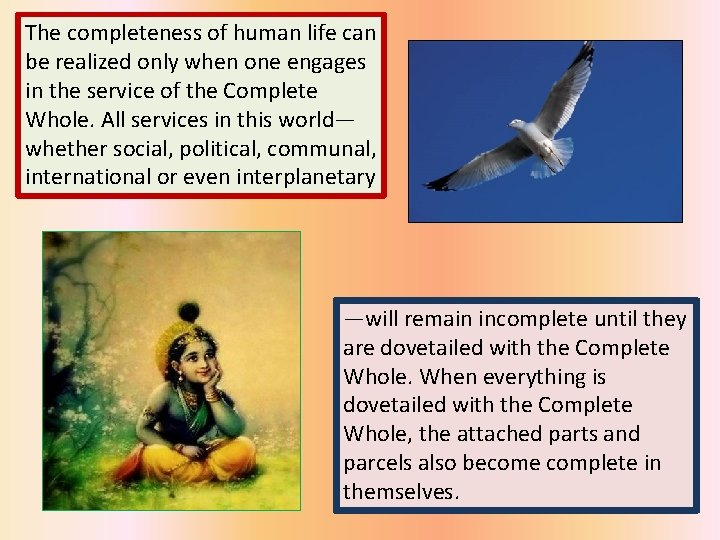 The completeness of human life can be realized only when one engages in the
