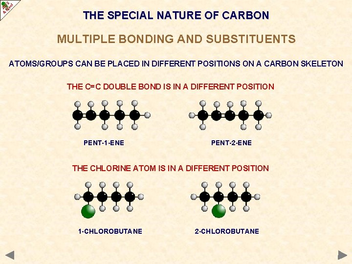 THE SPECIAL NATURE OF CARBON MULTIPLE BONDING AND SUBSTITUENTS ATOMS/GROUPS CAN BE PLACED IN
