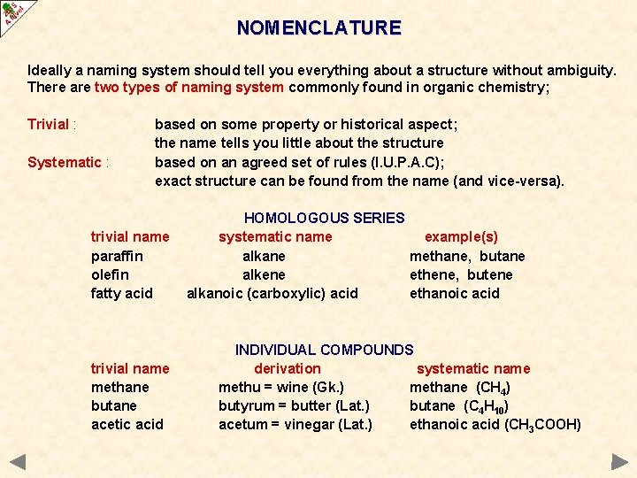 NOMENCLATURE Ideally a naming system should tell you everything about a structure without ambiguity.