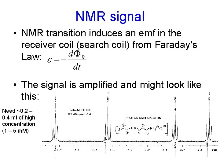 NMR signal • NMR transition induces an emf in the receiver coil (search coil)