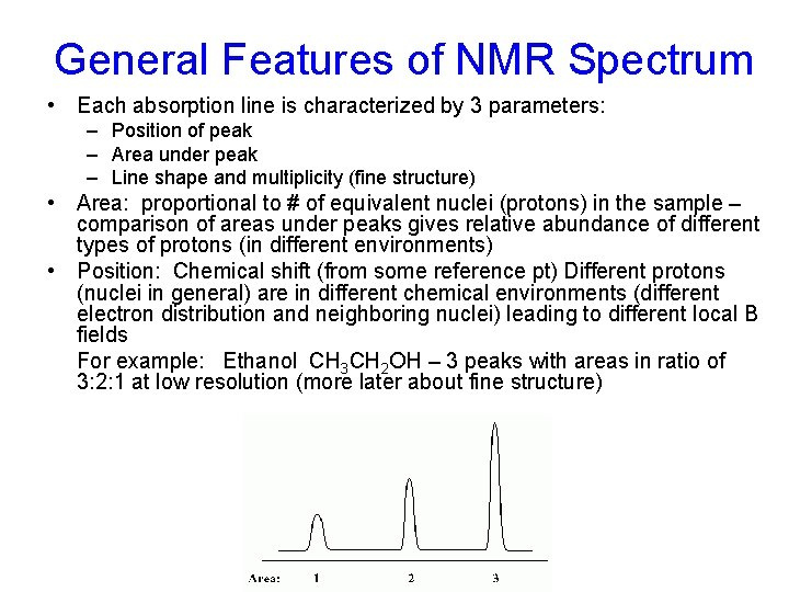 General Features of NMR Spectrum • Each absorption line is characterized by 3 parameters: