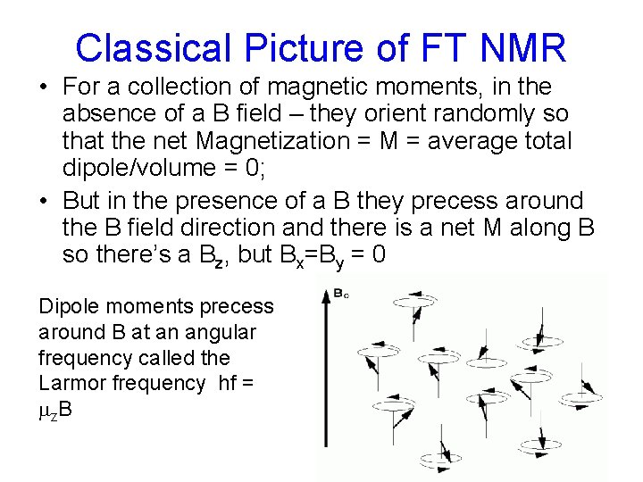 Classical Picture of FT NMR • For a collection of magnetic moments, in the