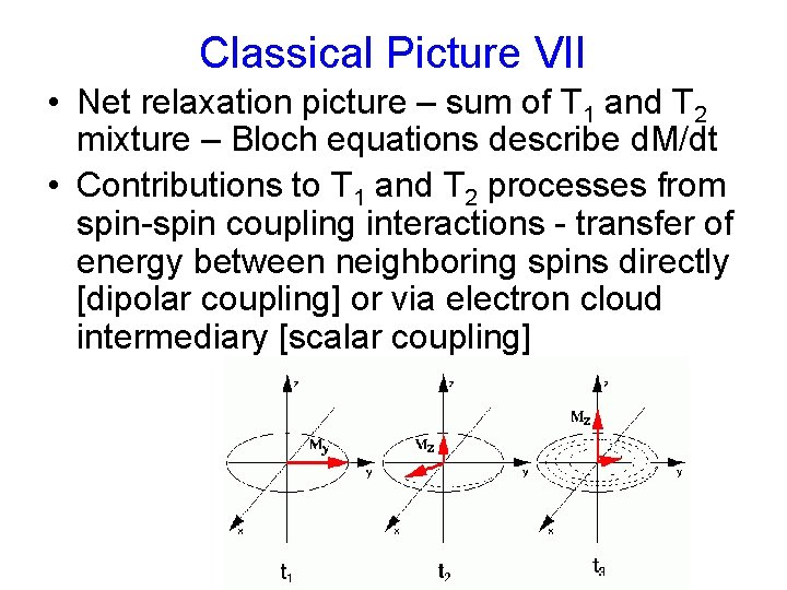 Classical Picture VII • Net relaxation picture – sum of T 1 and T