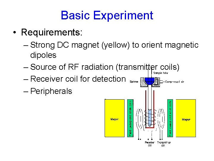 Basic Experiment • Requirements: – Strong DC magnet (yellow) to orient magnetic dipoles –
