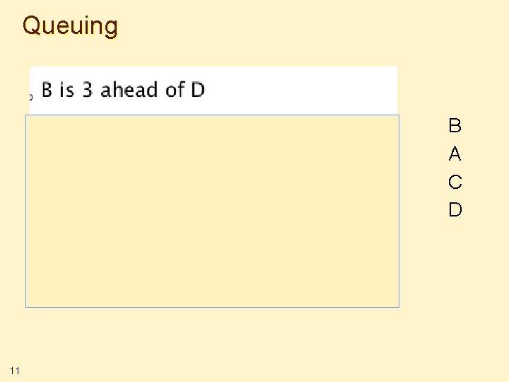 Queuing B A C D 11