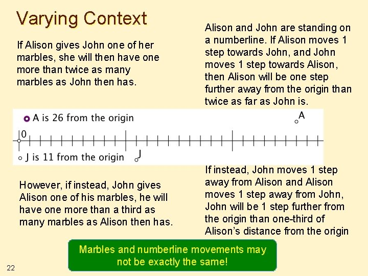 Varying Context 22 If Alison gives John one of her marbles, she will then