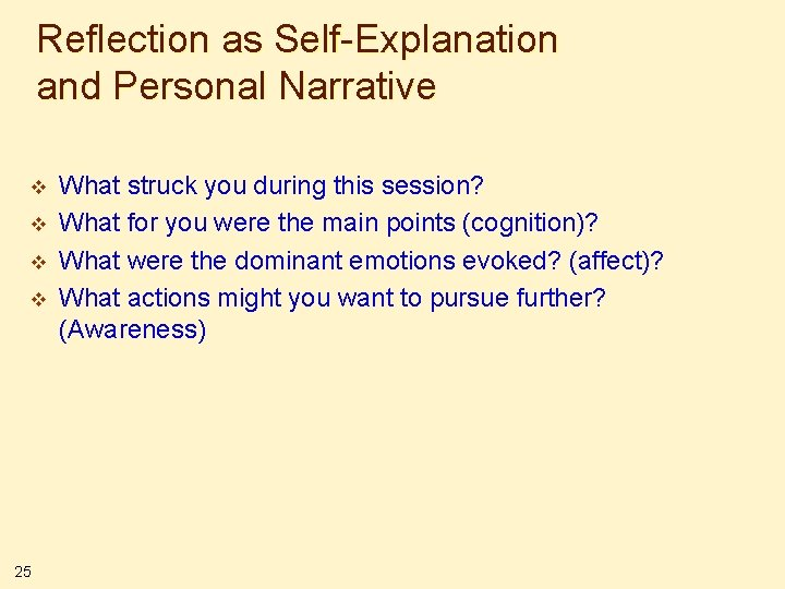 Reflection as Self-Explanation and Personal Narrative v v 25 What struck you during this