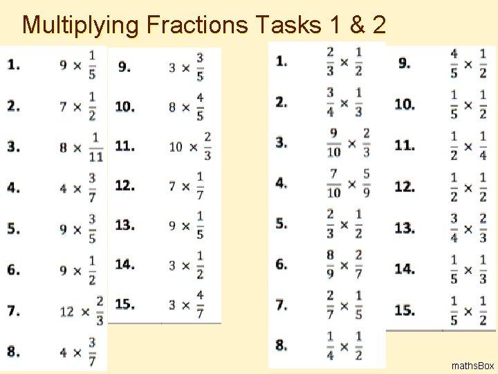 Multiplying Fractions Tasks 1 & 2 4 maths. Box