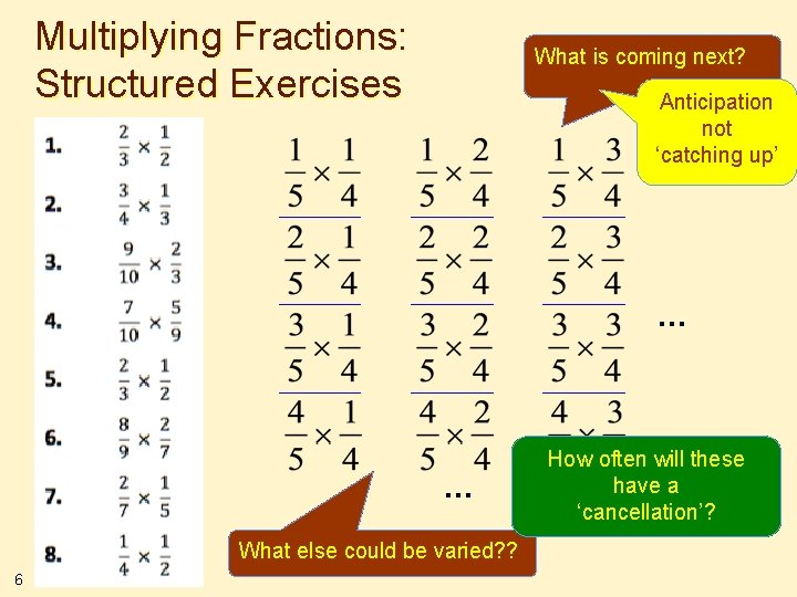 Multiplying Fractions: Structured Exercises What is coming next? Anticipation not 'catching up' … …