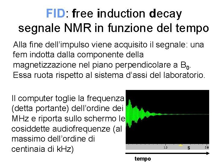 FID: free induction decay segnale NMR in funzione del tempo Alla fine dell'impulso viene