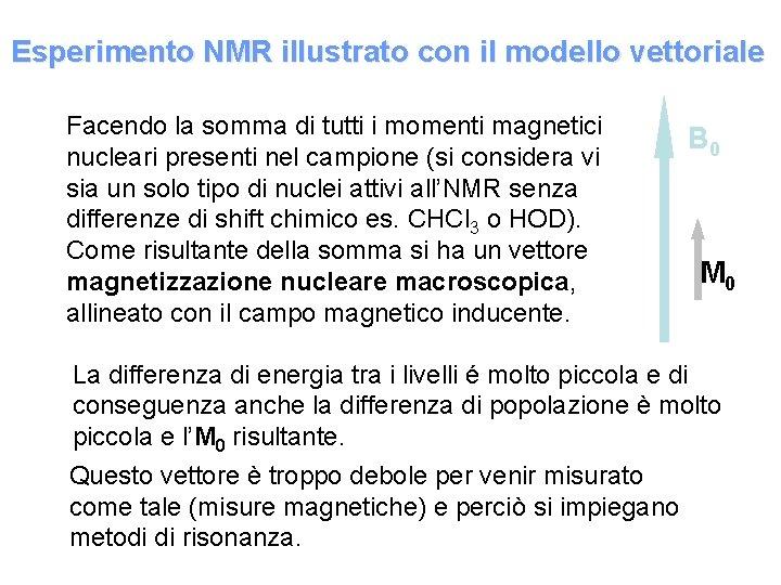 Esperimento NMR illustrato con il modello vettoriale Facendo la somma di tutti i momenti