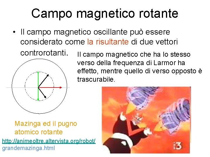 Campo magnetico rotante • Il campo magnetico oscillante può essere considerato come la risultante