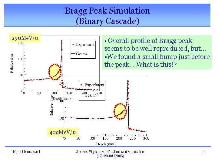 Bragg Peak Simulation (Binary Cascade) 290 Me. V/u • Overall profile of Bragg peak