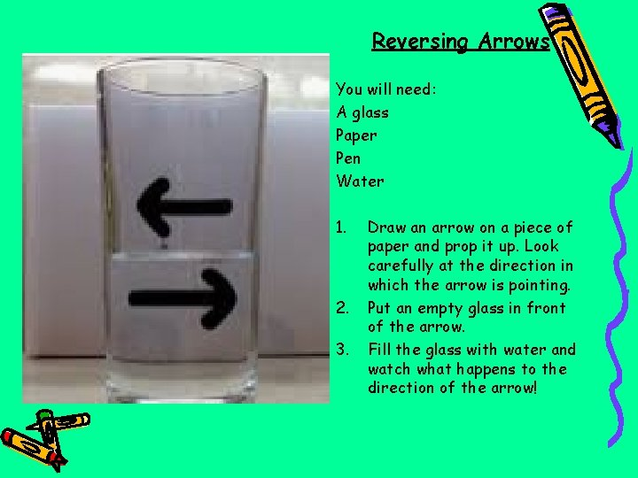 Reversing Arrows You will need: A glass Paper Pen Water 1. 2. 3. Draw