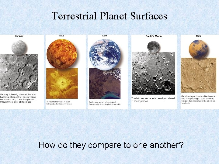 Terrestrial Planet Surfaces How do they compare to one another?