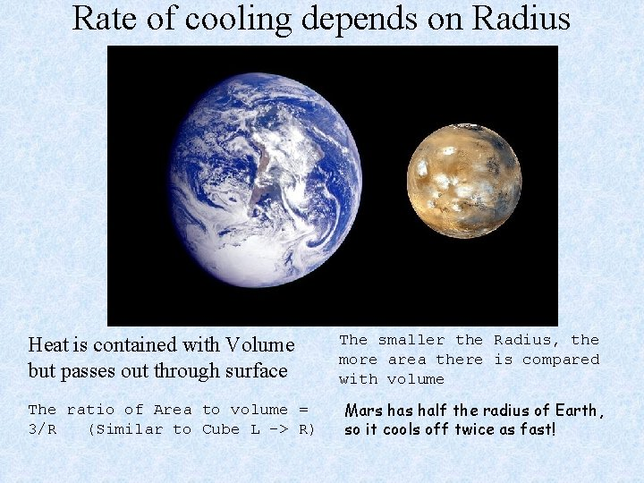 Rate of cooling depends on Radius Heat is contained with Volume but passes out