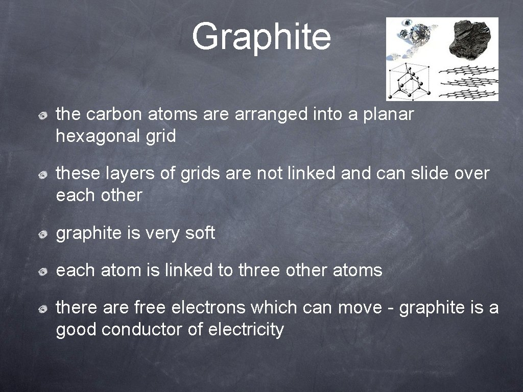 Graphite the carbon atoms are arranged into a planar hexagonal grid these layers of