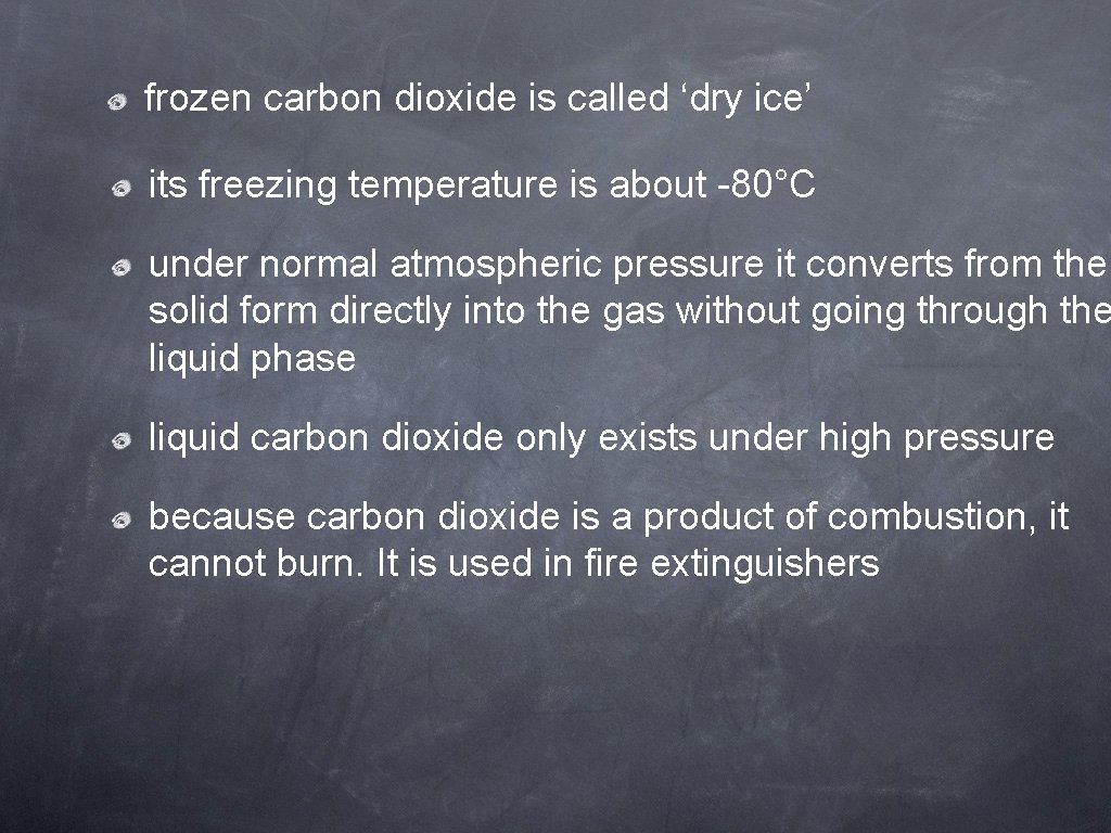 frozen carbon dioxide is called 'dry ice' its freezing temperature is about -80°C under