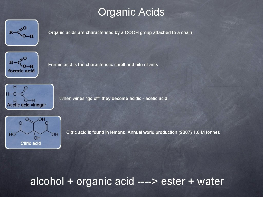 Organic Acids Organic acids are characterised by a COOH group attached to a chain.