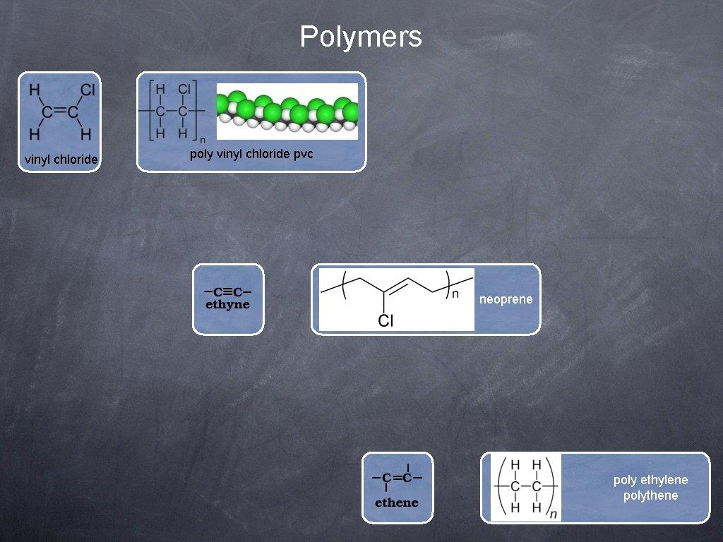 Polymers vinyl chloride poly vinyl chloride pvc neoprene poly ethylene polythene