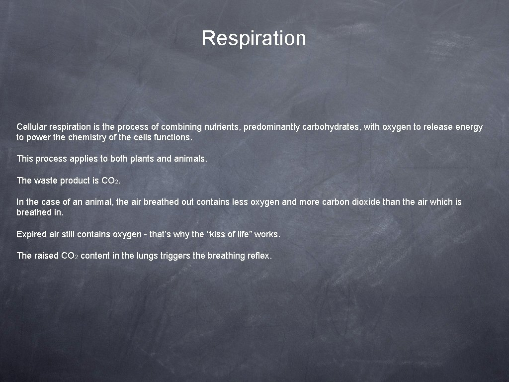 Respiration Cellular respiration is the process of combining nutrients, predominantly carbohydrates, with oxygen to