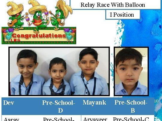 Relay Race With Balloon (Boys) I Position Dev Pre-School. D Mayank Pre-School. B 10