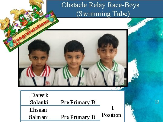 Obstacle Relay Race-Boys (Swimming Tube) Daiwik Solanki Ehsaan Salmani Pre Primary B I Position