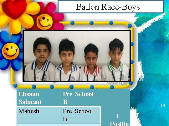 Ballon Race-Boys Ehsaan Salmani Mahesh Pre School B 14 I Positio