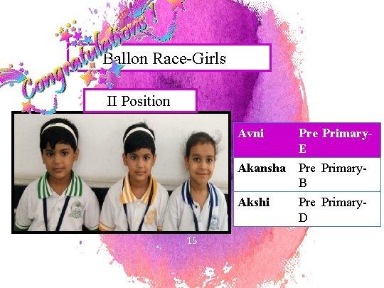 Ballon Race-Girls II Position 15 Avni Pre Primary. E Akansha Pre Primary. B Akshi