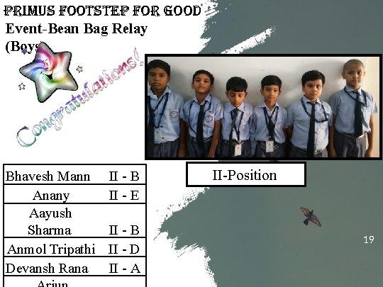 primus Footstep For Good Event-Bean Bag Relay (Boys) Bhavesh Mann Anany Aayush Sharma Anmol