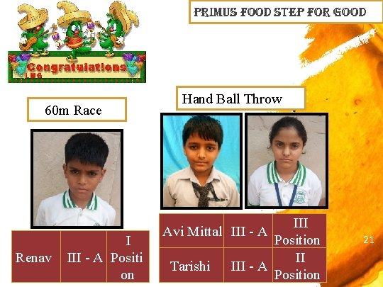 primus Food step For Good 60 m Race Renav I III - A Positi