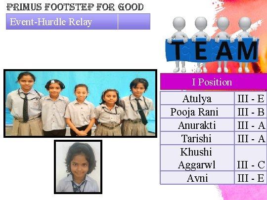 primus Footstep For Good Event-Hurdle Relay I Position Atulya Pooja Rani Anurakti Tarishi Khushi