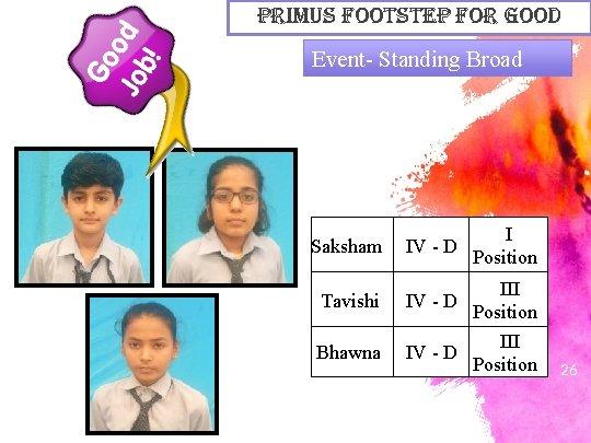 primus Footstep For Good Event- Standing Broad Saksham IV - D Tavishi IV -