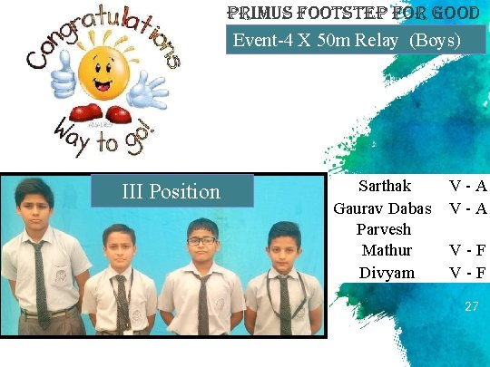primus Footstep For Good Event-4 X 50 m Relay (Boys) III Position Sarthak Gaurav