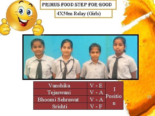 primus Food step For Good 4 X 50 m Relay (Girls) Vanshika Tejaswani Bhoomi