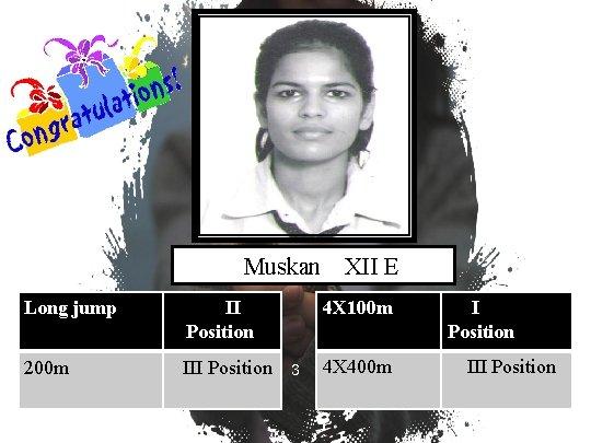 Muskan Long jump II Position 200 m III Position XII E 4 X 100