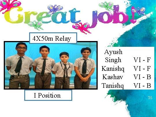4 X 50 m Relay Ayush Singh Kanishq Kashav Tanishq I Position VI -