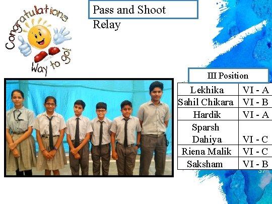 Pass and Shoot Relay III Position Lekhika Sahil Chikara Hardik Sparsh Dahiya Riena Malik