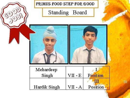 primus Food step For Good Standing Board Mehardeep Singh Hardik Singh VII - E