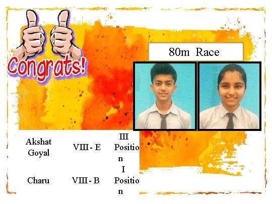 80 m Race Akshat Goyal VIII - E Charu VIII - B III Positio