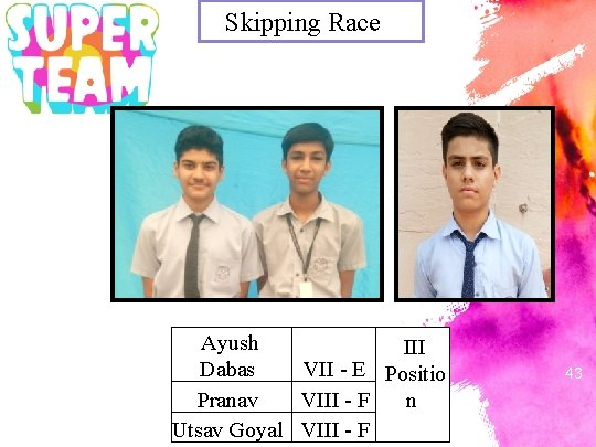 Skipping Race . . Ayush III Dabas VII - E Positio n Pranav VIII
