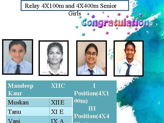 Relay 4 X 100 m and 4 X 400 m Senior Girls Mandeep Kaur